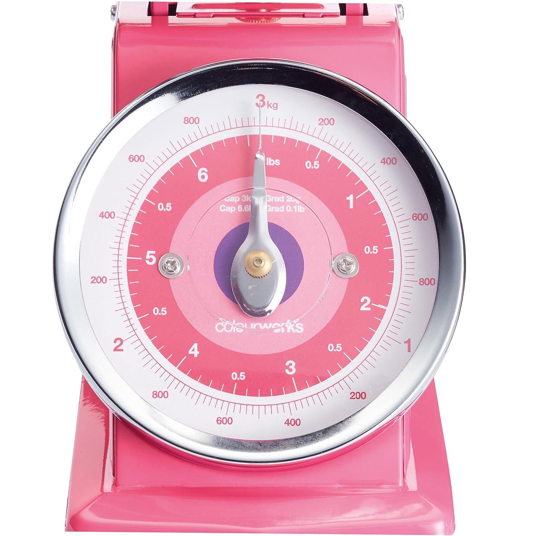 6.5 lbs KitchenCraft Colourworks Mechanical Kitchen Scales 3 kg - Pink