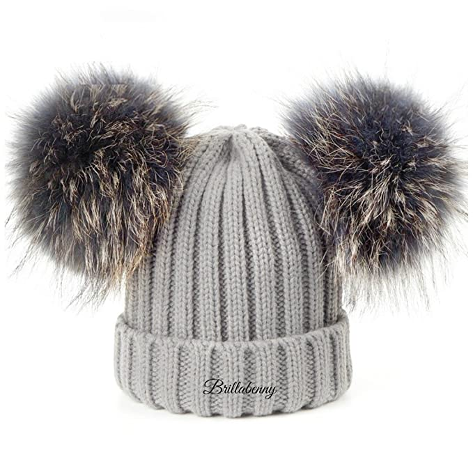 negozio ufficiale sito autorizzato comprare reale BrillaBenny Cappello PON PON Doppio Staccabile in Vera Pelliccia Grigio  Grey (1-4 Anni) Cappellino Hat Fur Baby Kids Double Poms Removable Luxury