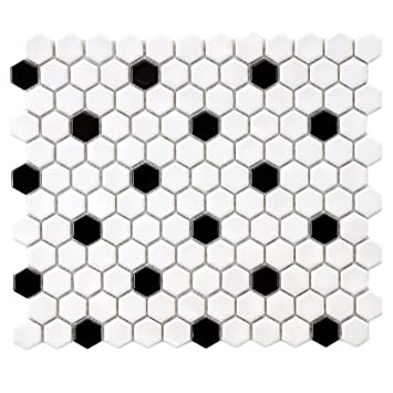 Amazoncom SomerTile FXLMHWBD Retro Hexagon Porcelain Mosaic