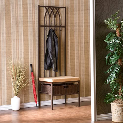 Tristina Dark brown with beige Hall Tree Entry Bench