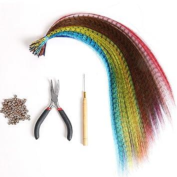 Sale New 4pc Feather Wig Hair Extension Tool Kit Hair Plier Hook Loop Ring Bead