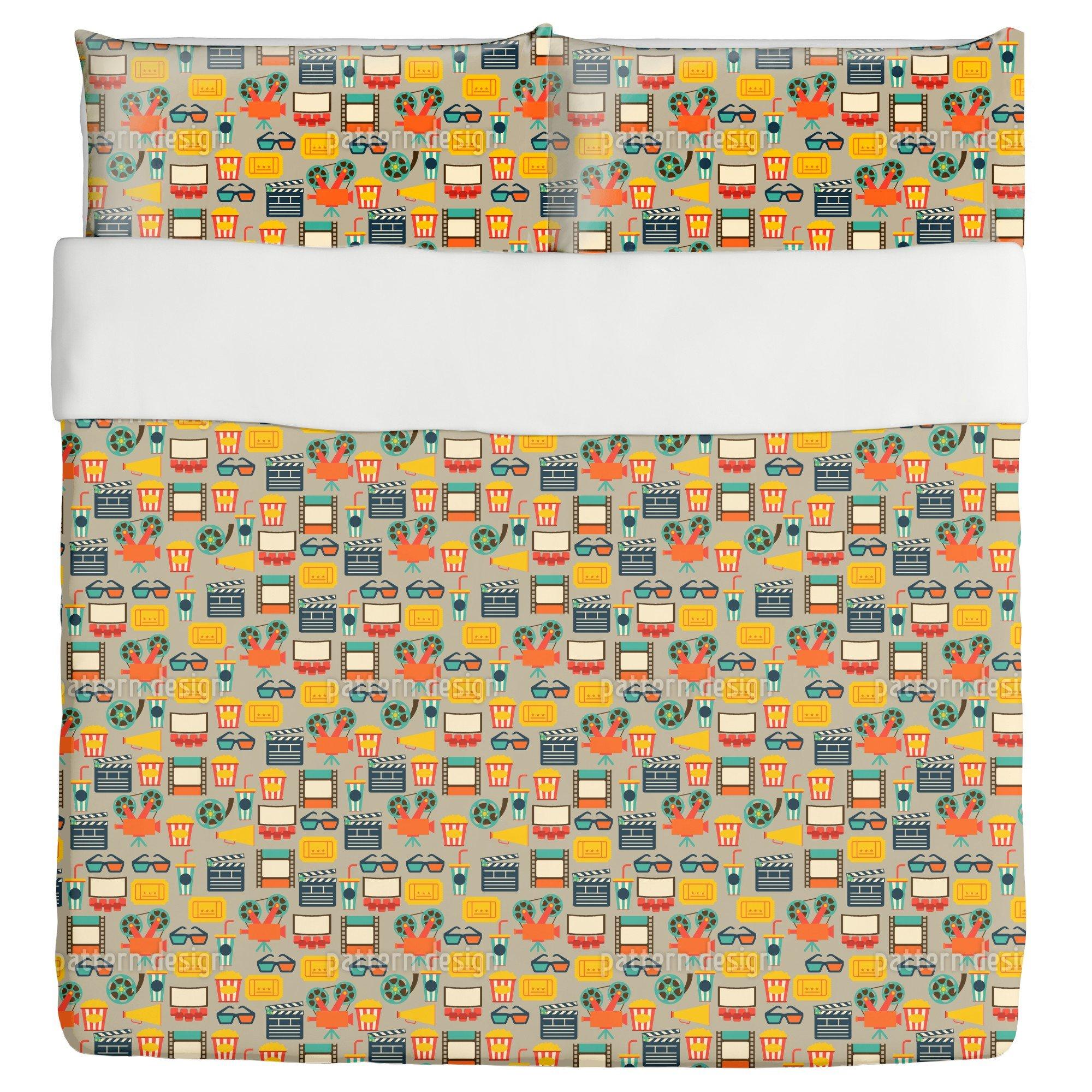 At The Cinema Duvet Bed Set 3 Piece Set Duvet Cover - 2 Pillow Shams - Luxury Microfiber, Soft, Breathable