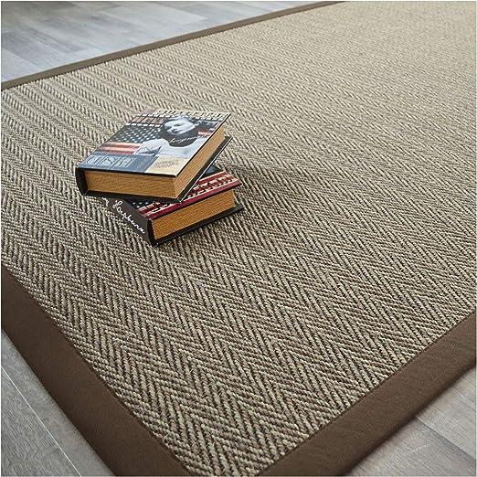 Sisal tapis salvador avec bordure marron foncé 140x200 cm 100/% sisal