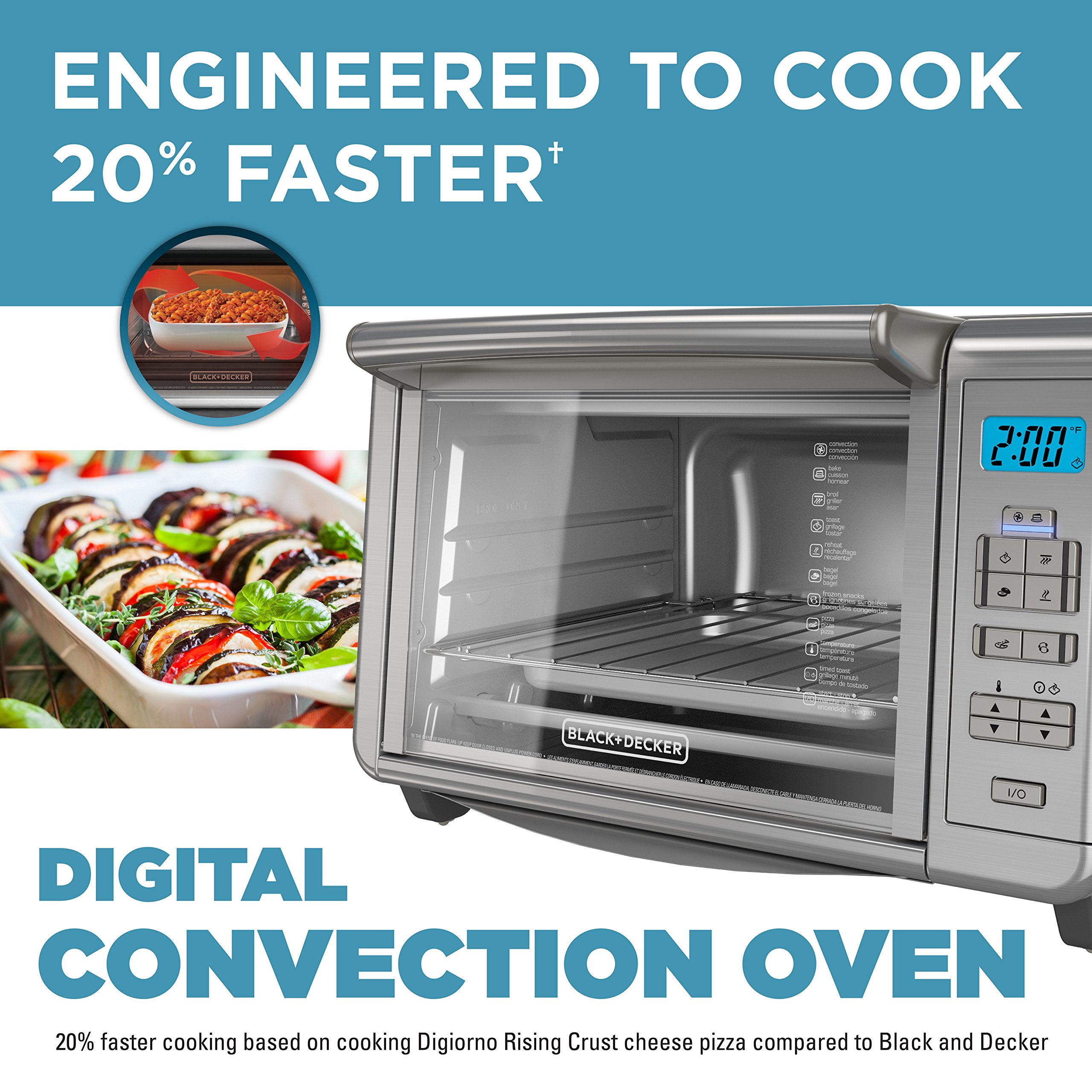 BLACK+DECKER 6-Slice Digital Convection Countertop Toaster Oven, Stainless Steel, TO3280SSD by BLACK+DECKER (Image #2)
