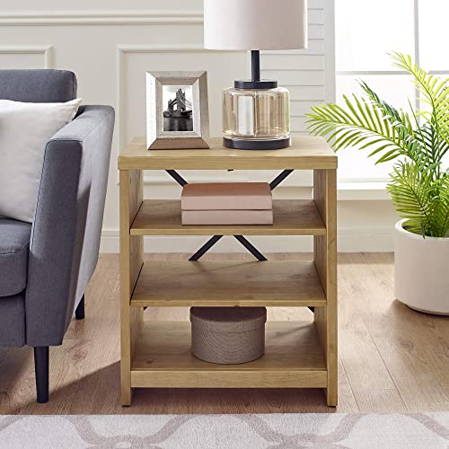 Classic Brands Farm House Three Shelf Solid Wood Bookshelf End Table, Weathered Rye