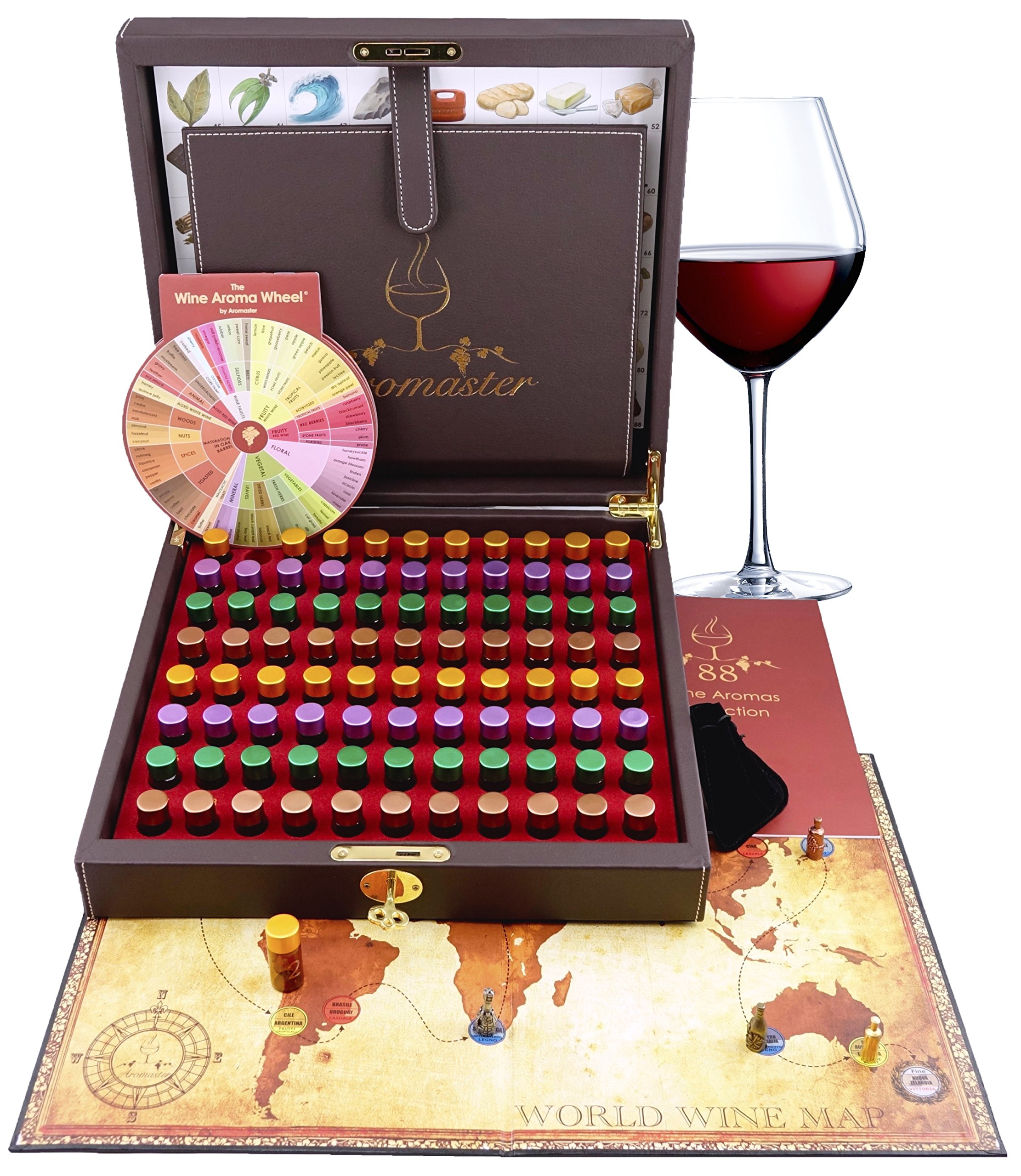 Master Wine Aromas Tasting Kit - 88 Wine Aromas (wine game & wine aroma wheel included)