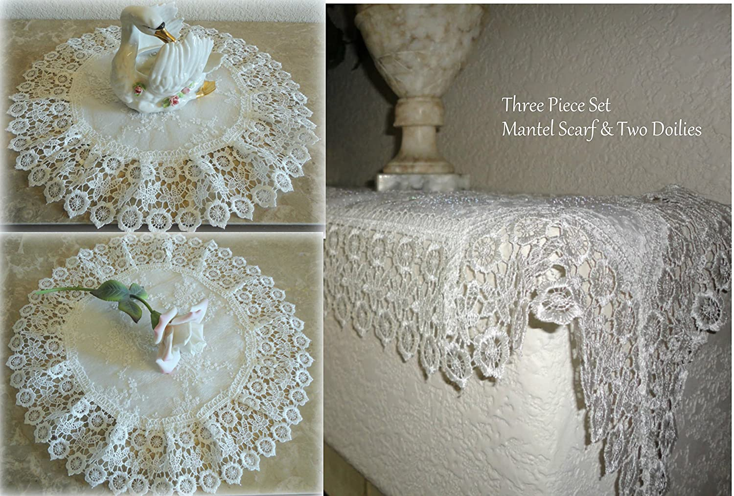 Galleria di Giovanni 3 Piece Gift Set Ivory Princess European Lace Mantel Scarf & Two Doilies