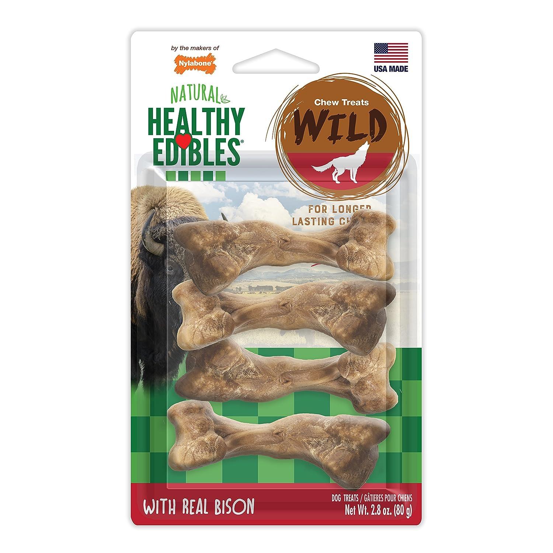 Nylabone 4 Count Healthy Edibles Small Wild Bison Dog Treat Bones NEB201VP4P