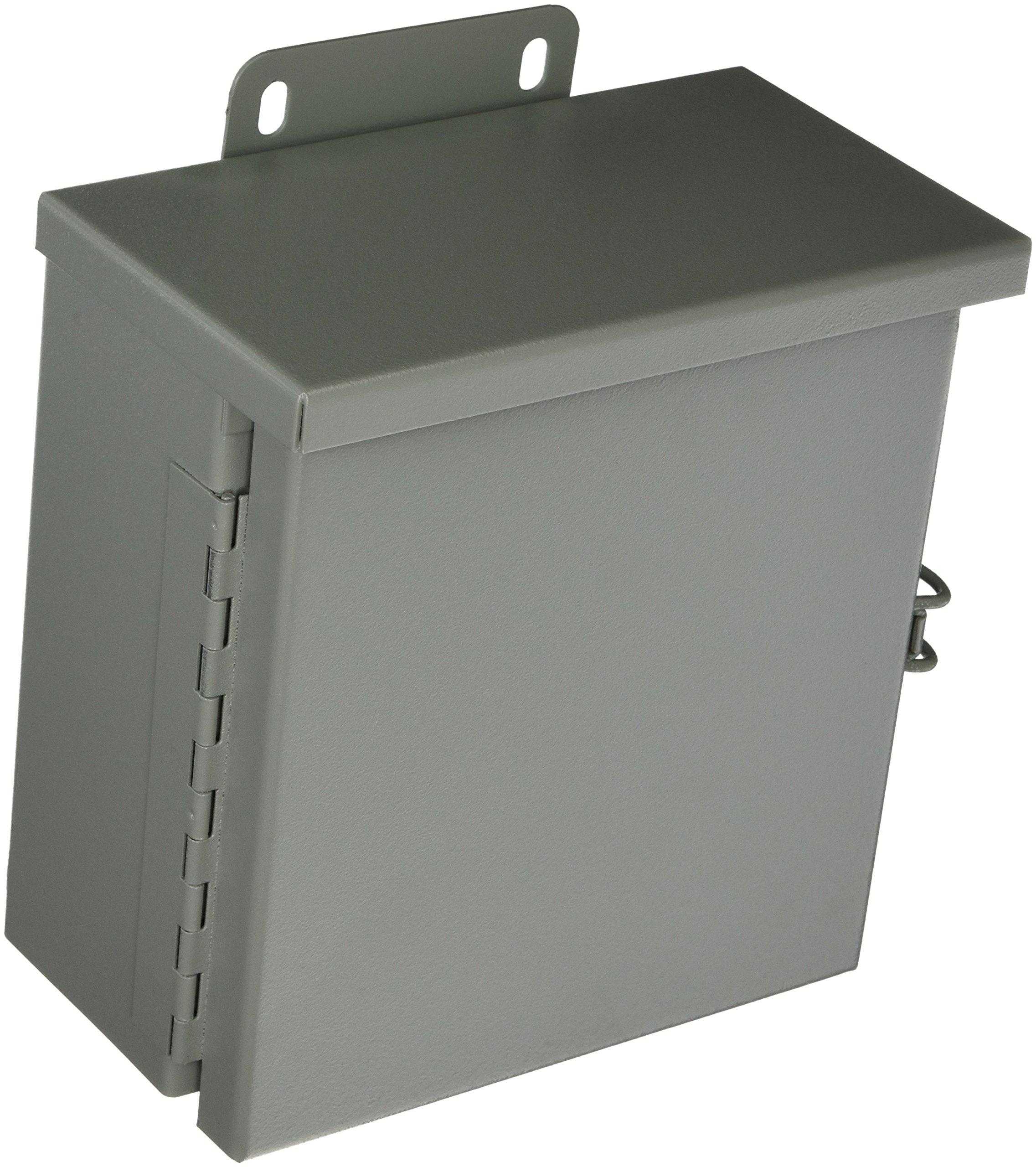 Wiegmann RHC080804 RHC-Series NEMA 3R Rainproof Hinge Cover Wall-Mount Enclosure, Carbon Steel, Small, 8'' x 8'' x 4''