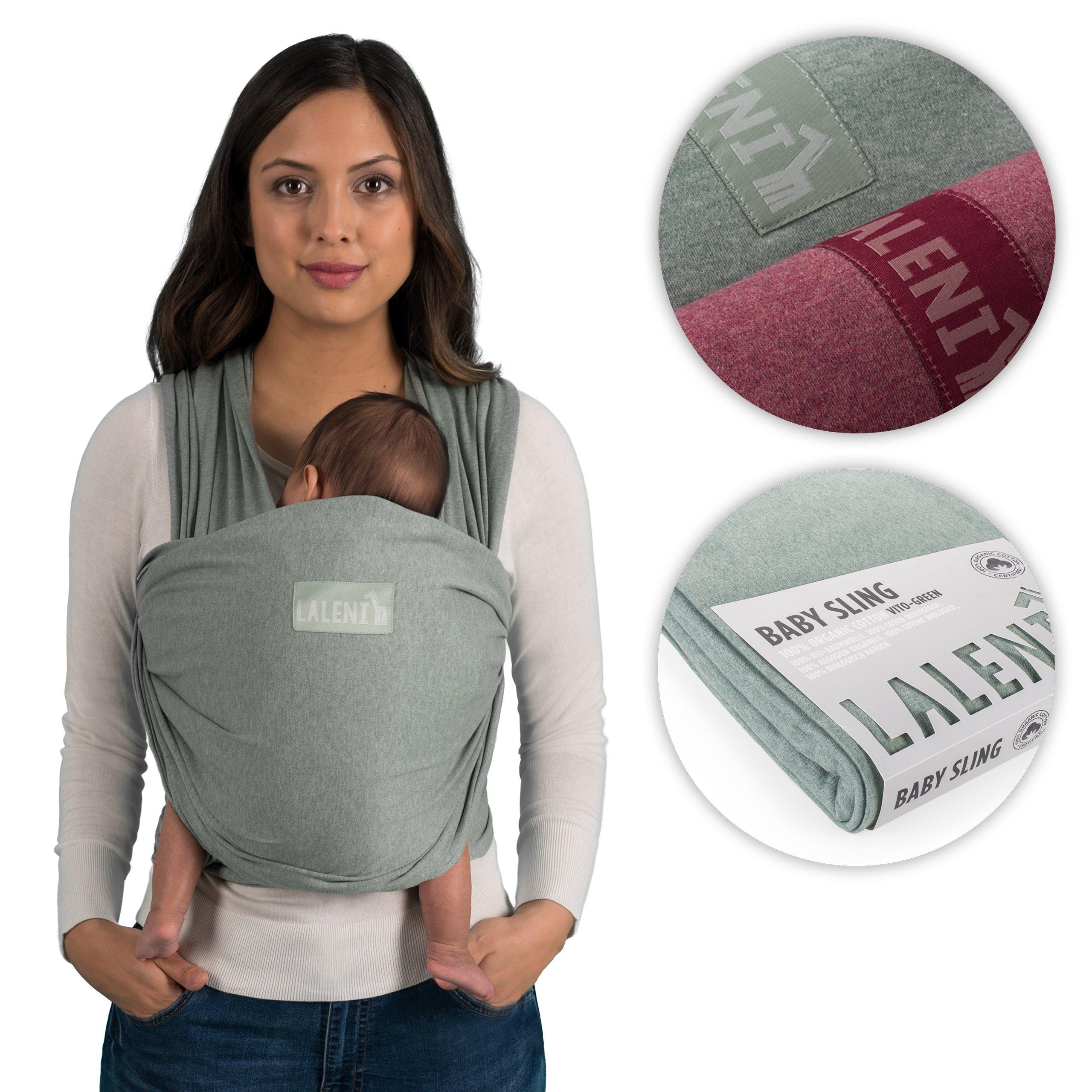Fular portabebés de Laneli, 100 % algodón ecológico, para recién nacidos de hasta 15