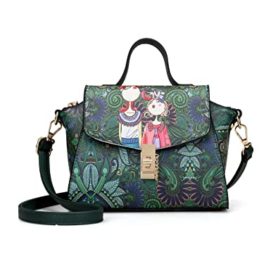 Embroidery Print Green Handbags for Women Shoulder Leather Bags Bag Purse  Crossbody Bags Small Handbag -Yaton  Handbags  Amazon.com b214e6e34079b
