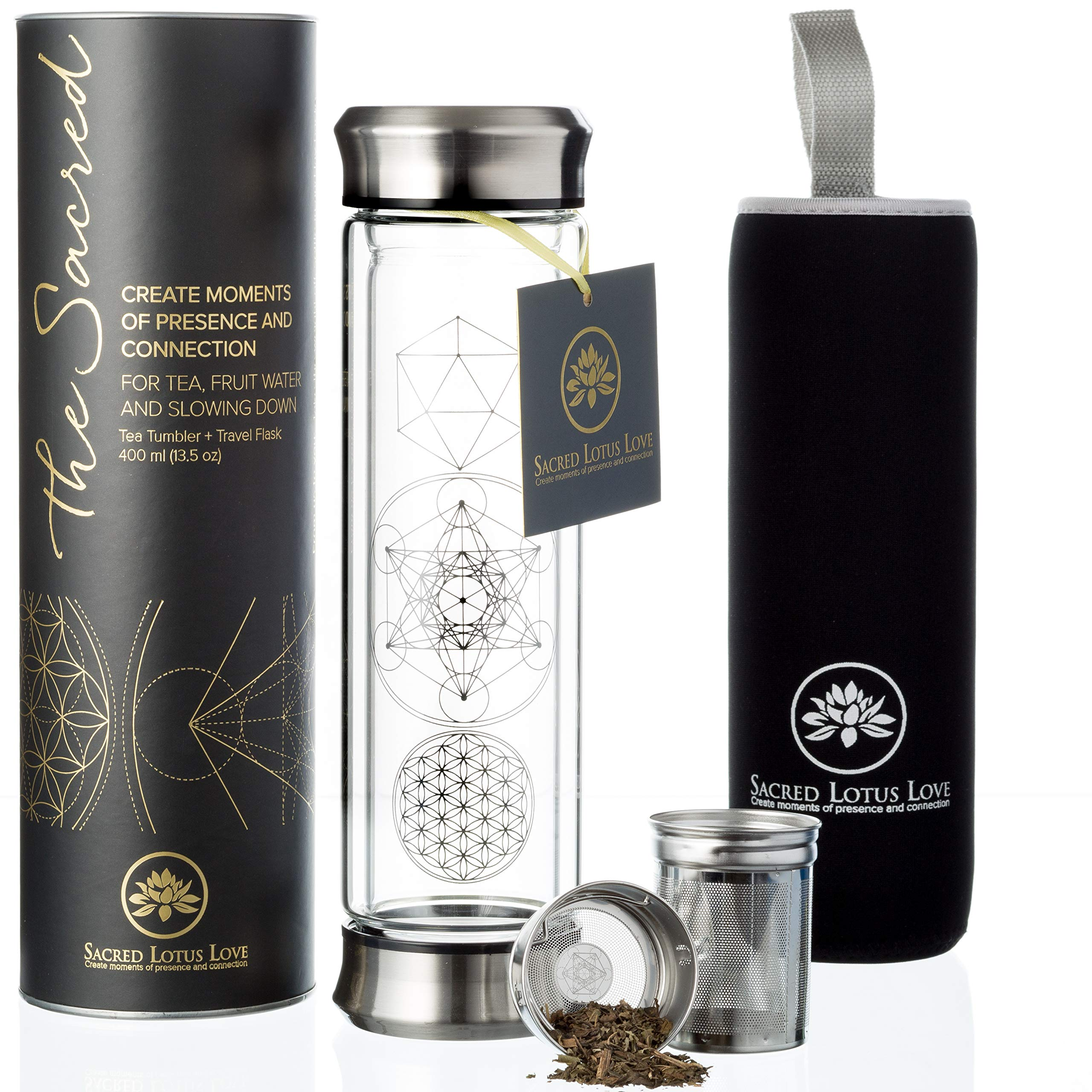 The Sacred Glass Tea Infuser Tumbler + Strainer for Loose Leaf, Herbal, Green or Ice Tea. 415ml/14oz Cold Brew Coffee Mug + Fruit Infusions bottle. Free Travel Sleeve by Sacred Lotus Love