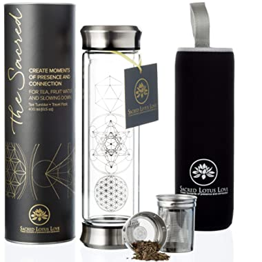 The Sacred Glass Tea Infuser Tumbler + Strainer for Loose Leaf, Herbal, Green or Ice Tea. 415ml/14oz Cold Brew Coffee Mug + Fruit Infusions bottle. Free Travel Sleeve