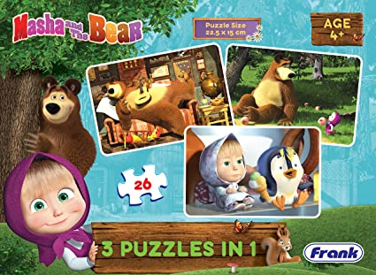 Frank Masha And The Bear 3 In 1 Puzzle For 4 Year Old Kids And Above