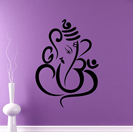 Hindu God Ganesha Wall Decal Elephant Vinyl Sticker Hinduism Home Interior  Yoga Living Room Decor Door