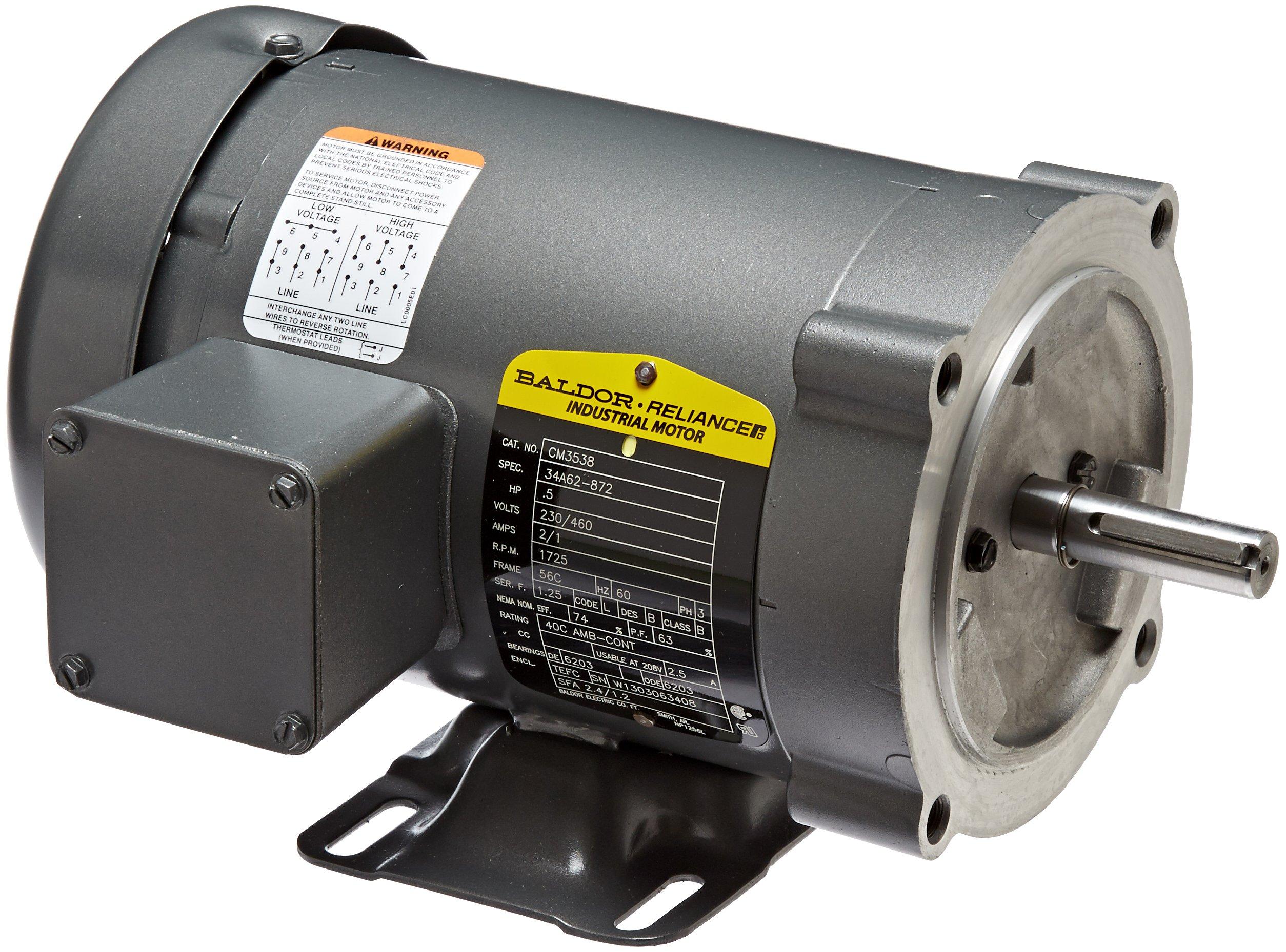 Baldor CM3538 General Purpose AC Motor, 3 Phase, 56C Frame, TEFC Enclosure, 1/2Hp Output, 1725rpm, 60Hz, 230/460V Voltage by Baldor