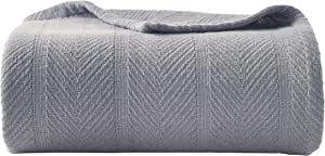 Eddie Bauer | Herringbone Collection | 100% Cotton Light-Weight and Breathable Blanket, Cozy and Soft Throw, Machine Washable, Twin, Chrome