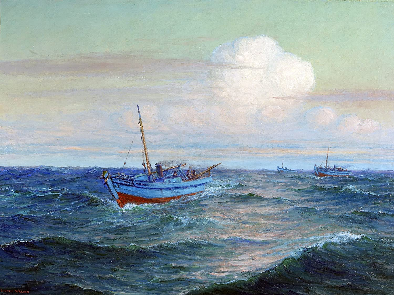 Wave boat Hawaiian Sampan L. Walden Tile Mural Kitchen Backsplash ...