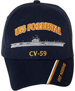 Artisan Owl Officially Licensed USS Forrestal CV-59 Embroidered Navy Blue Baseball  Cap 677ce5cdf3ed