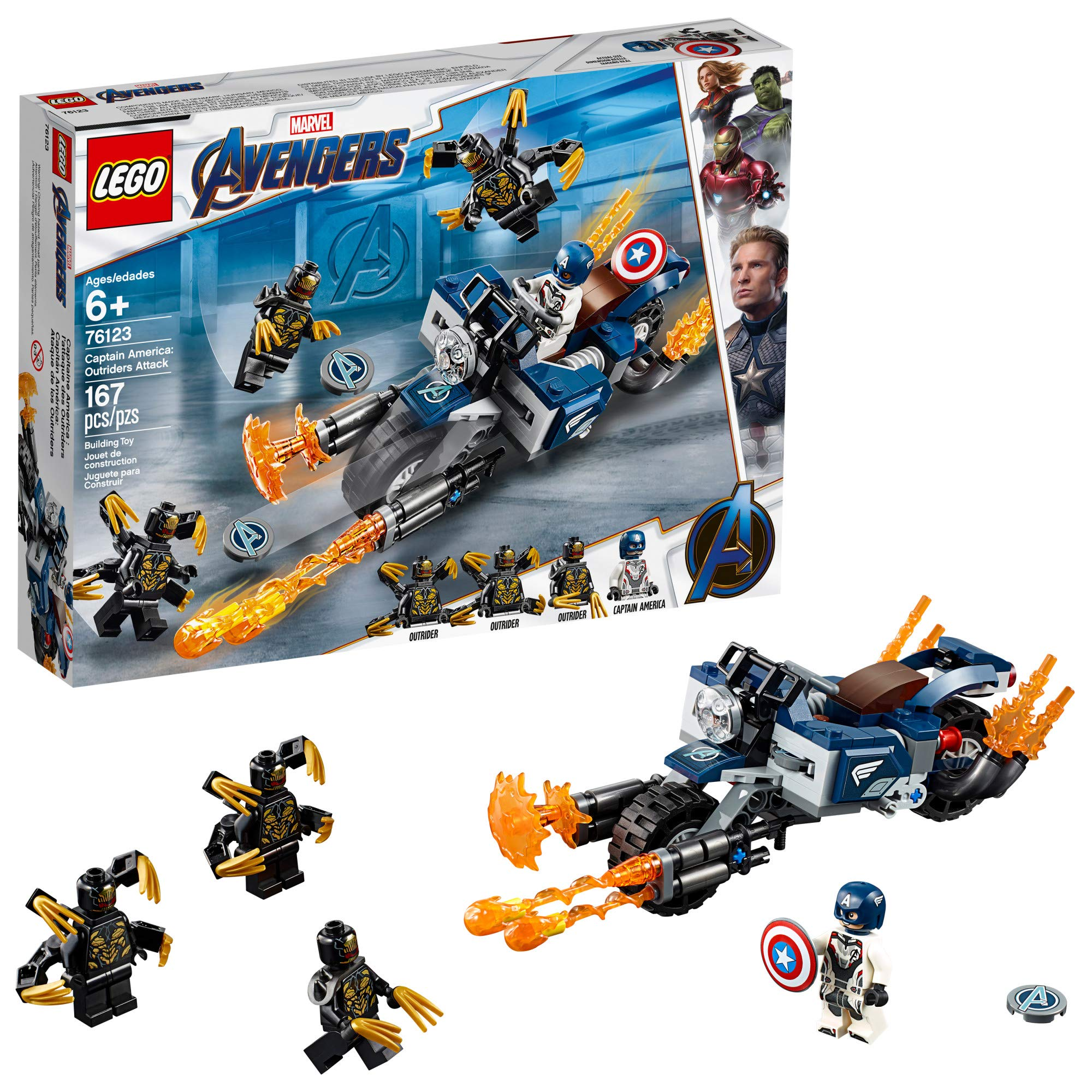 LEGO Marvel Avengers Captain America: Outriders Attack 76123 Building Kit, New 2019 (167 Pieces) by LEGO