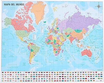 Grupo Erik Editores Mini póster Mapa del Mundo 40 x 50 150 gr ...
