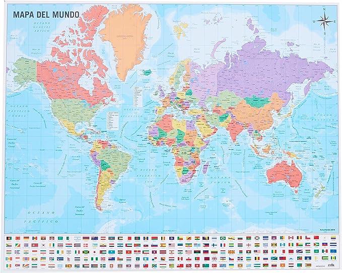 Grupo Erik Editores Mini póster Mapa del Mundo 40 x 50 150 gr: Amazon.es: Electrónica