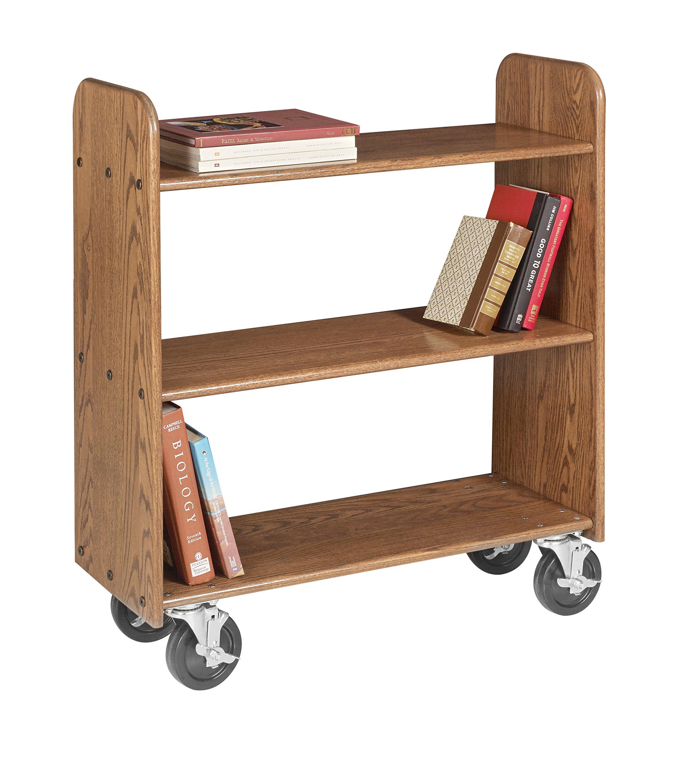 Diversified Woodcraft BT113 Deep Bronze Oak Finish Book Truck with 3 Flat Shelves, 32'' Width x 37-1/2'' Height x 13'' Depth by Diversified Woodcrafts