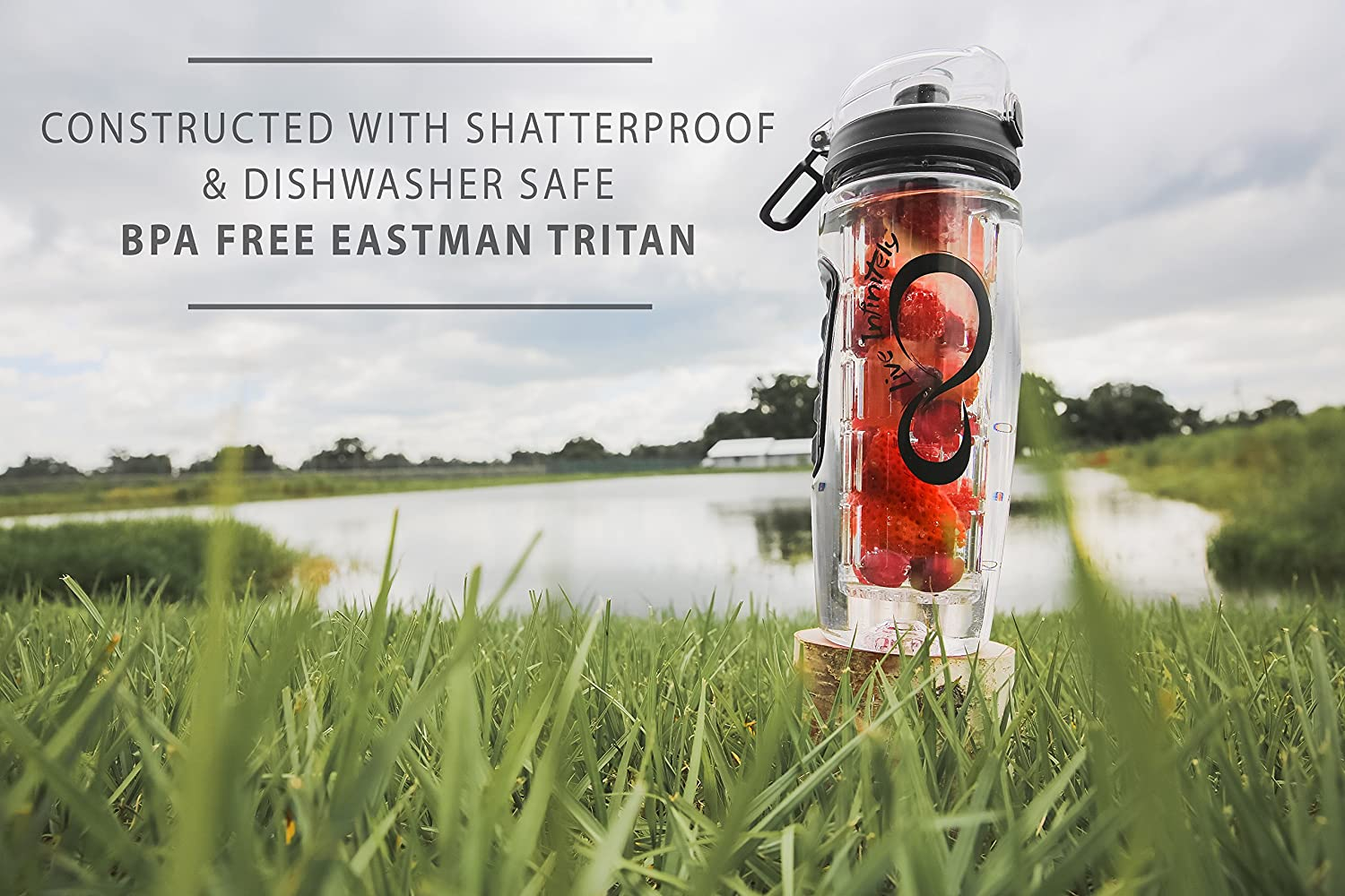 Fruit Infuser Water Bottles with Time Marker Insulation Sleeve /& Recipe eBook Fun /& Healthy Way to Stay Hydrated Live Infinitely 32 oz