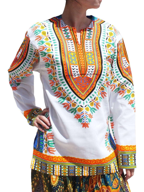 Raan Pah Muang SHIRT メンズ B075V4RQCD XS|White MultiOrange White MultiOrange XS