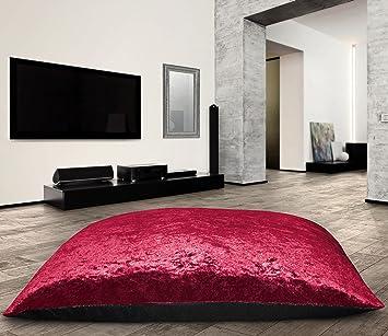 Large Anti Slip Jumbo Crushed Velvet Floor Cushion Pet Bed Pillow Cushion Soft Comfy Raspberry Small Floor Cushion