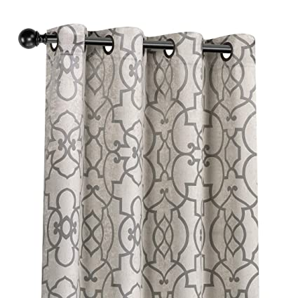 GoodGram 2 Pack Palladian Reversible Lattice Heavy Duty Thermal Blackout  Curtain Panels - Assorted Colors (Palladian Taupe/Grey)