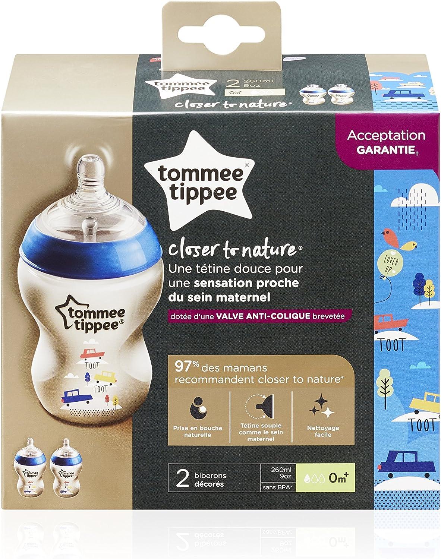 Tommee Tippee 42262171 2 Biberons D/écor/é Bleu 260 ml 0 Mois+