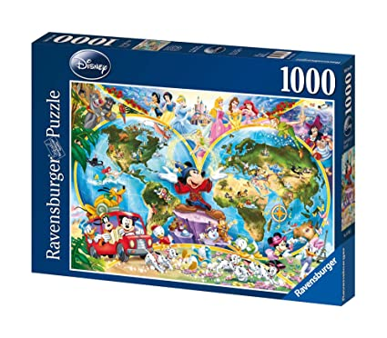 Disney World Map 1000 Piece Jigsaw Puzzle Featuring the entire Disney on