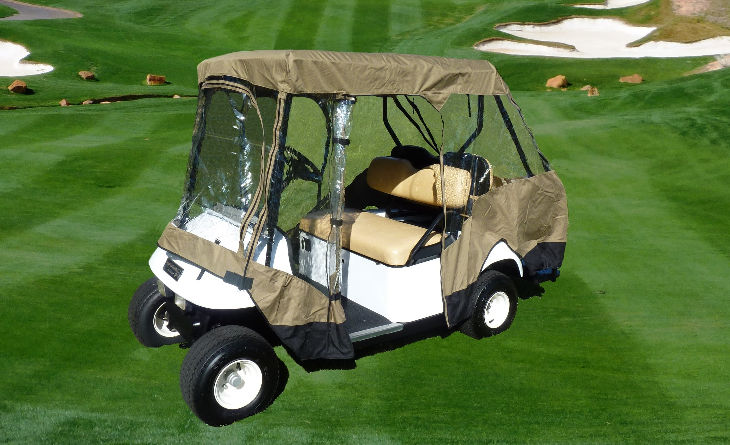 Premium Tight Weave Golf Cart Driving Enclosure for 4 seater with 2 seater roof up to 58'' by Formosa Covers (Image #6)