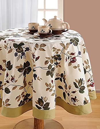 ShalinIndia Round Floral Tablecloth   72 Inches In Diameter   Tablecloths  For 6 Seat Tables