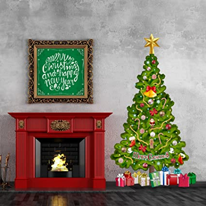 Tree In A Tube Life Size Deluxe Christmas Tree Wall Decal, Reusable And  Repositionable