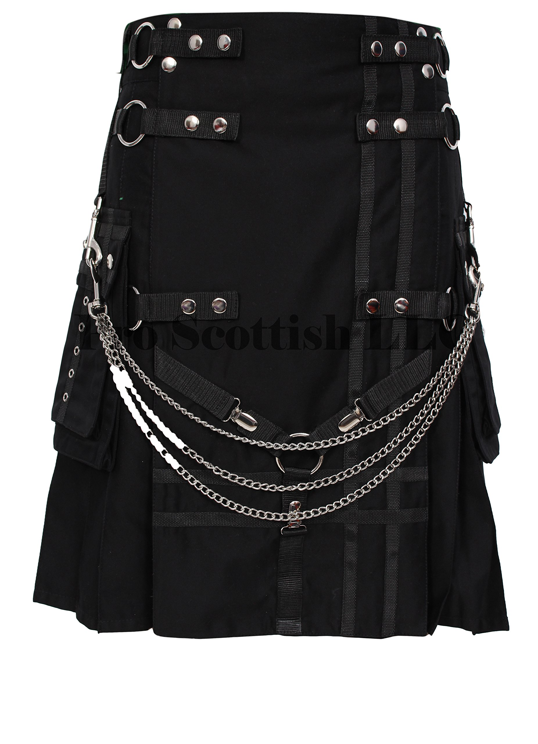 Black Deluxe Utility Fashion Kilt With Chain (32W x 24L)
