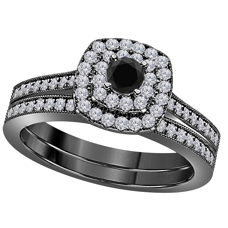 Amazon Com 2ct Round Cut Black Cz Diamond Simulated Diamond 14k