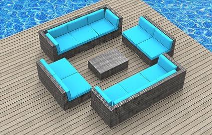 Awe Inspiring Urban Furnishing Bermuda 11Pc Modern Outdoor Wicker Patio Furniture Modular Sofa Sectional Set Fully Assembled Sea Blue Machost Co Dining Chair Design Ideas Machostcouk