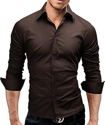 Merish Hemd Slim Fit 14 Farben Größen S-XXL Herren Modell 01 Braun S