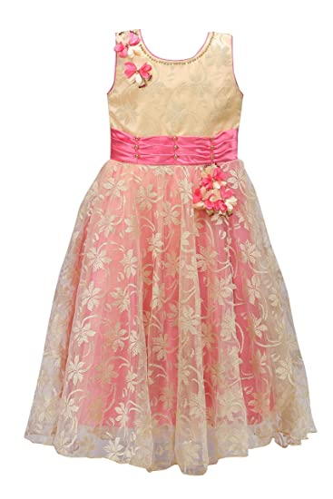 14cb52fbb8 Wish Karo Party wear Girls Long Frock Gown Dress DNLF807  Amazon.in   Clothing   Accessories