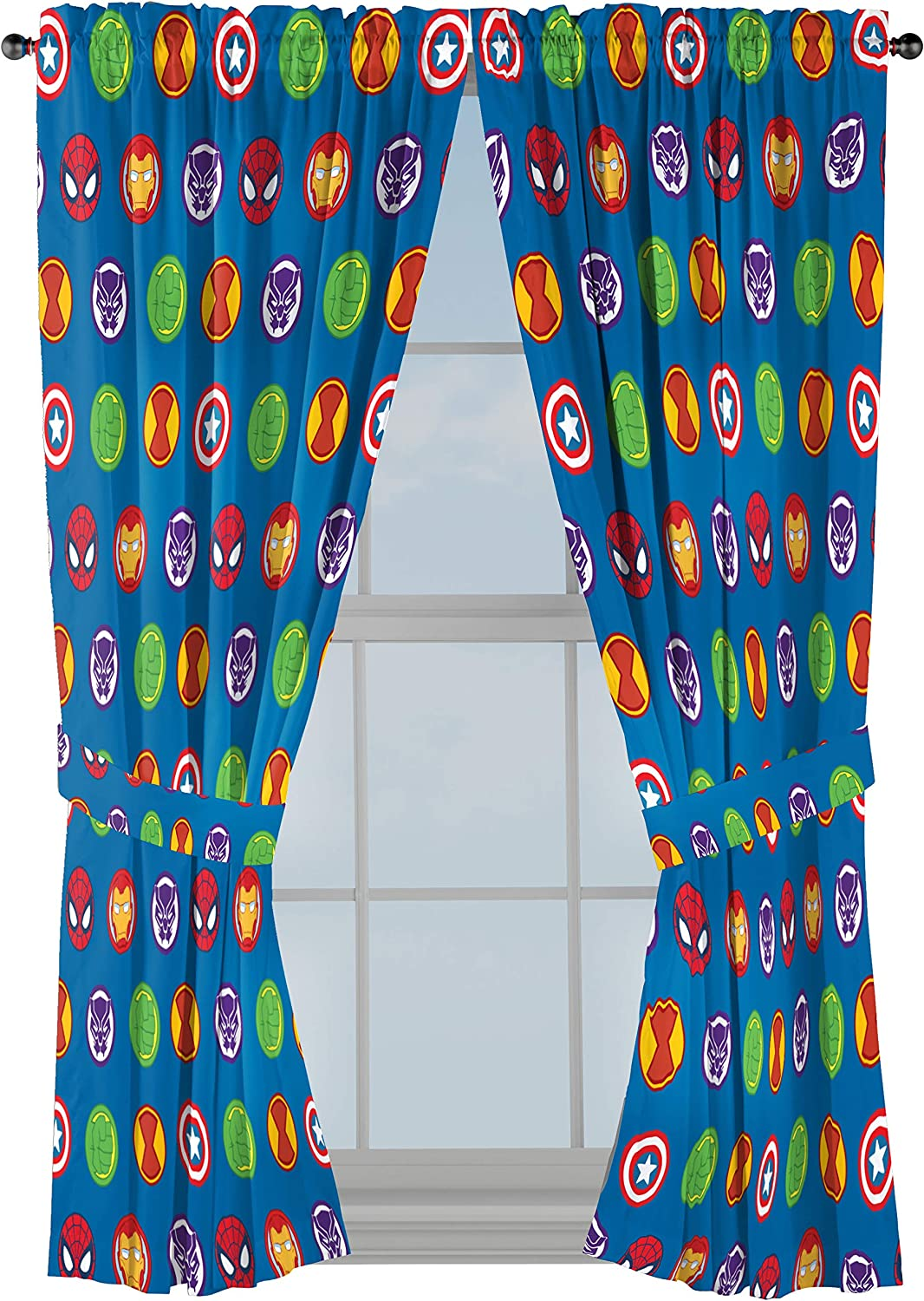 """Marvel Super Hero Adventures Double Team 63"""" Inch Drapes - Beautiful Room Décor & Easy Set Up, Bedding Features The Avengers - Curtains Include 2 Tiebacks, 4 Piece Set (Official Marvel Product)"""