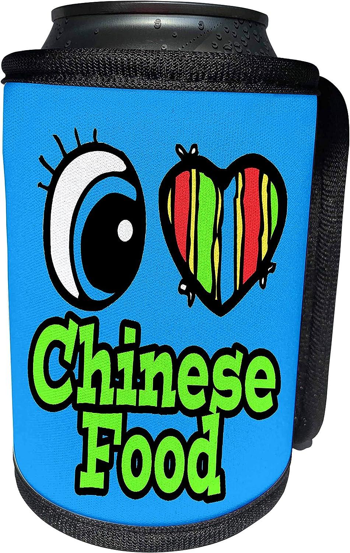 3dRose Dooni Designs Eye Heart I Love Designs - Bright Eye Heart I Love Chinese Food - Can Cooler Bottle Wrap (cc_105961_1)