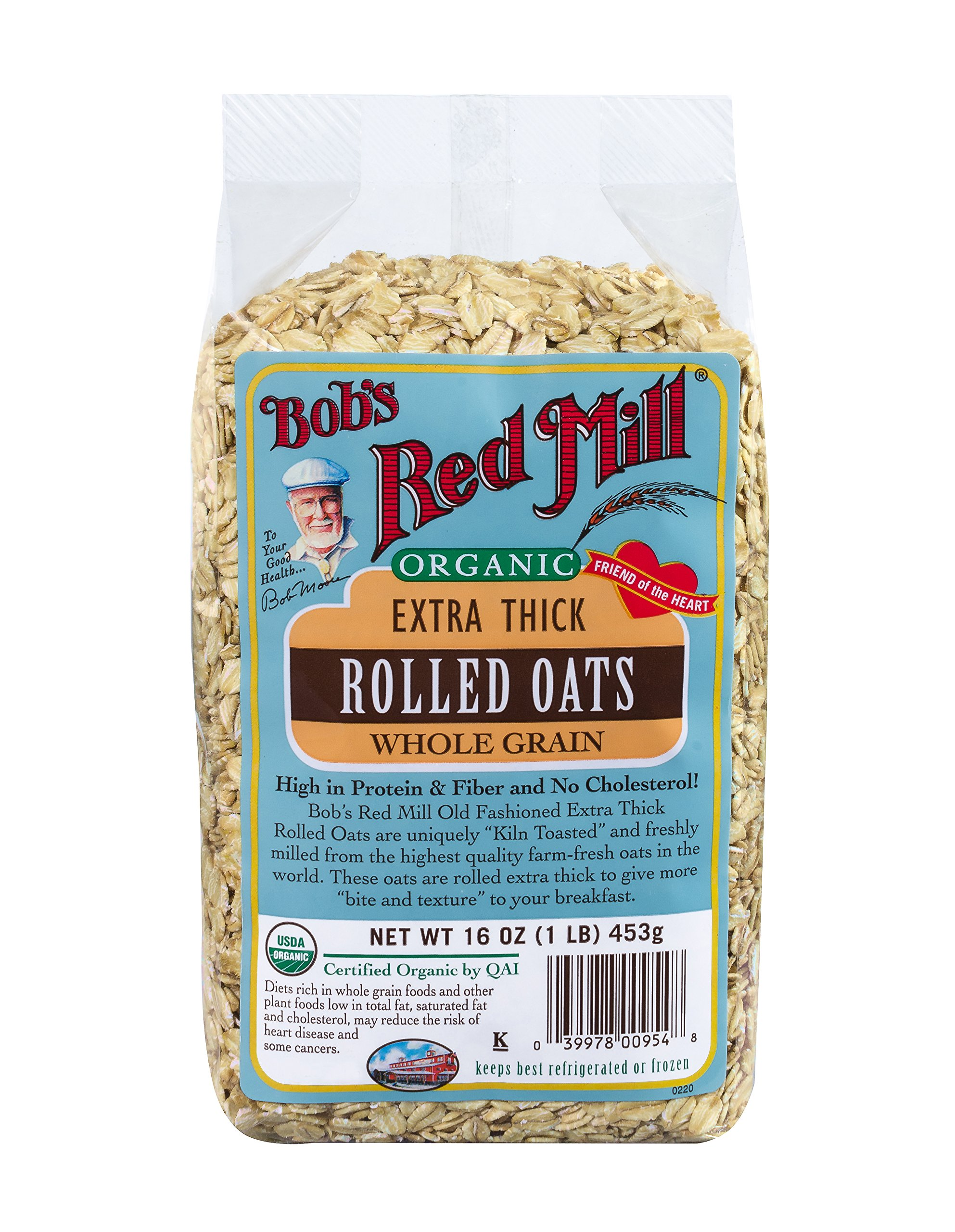 Bob8217;s Red Mill Oats, Thick Rolled, Organic, 16-ounces (Pack of4)