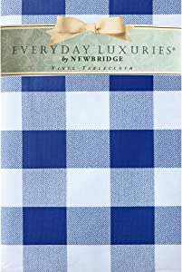 "Newbridge Cottage Gingham Buffalo Check Vinyl Flannel Backed Tablecloth - Rustic Checkered Indoor/Outdoor Vinyl Picnic, BBQ and Dining Tablecloth - 60"" x 84"" Oval, Blue"