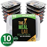 [Value-Pack] LONGER LASTING 3-Compartment BPA FREE Stackable Meal Prep Food Storage Containers with Lids   Microwave & Dishwasher Safe Bento Lunch Box   Portion Control Plates + FREE Weight Loss eBook