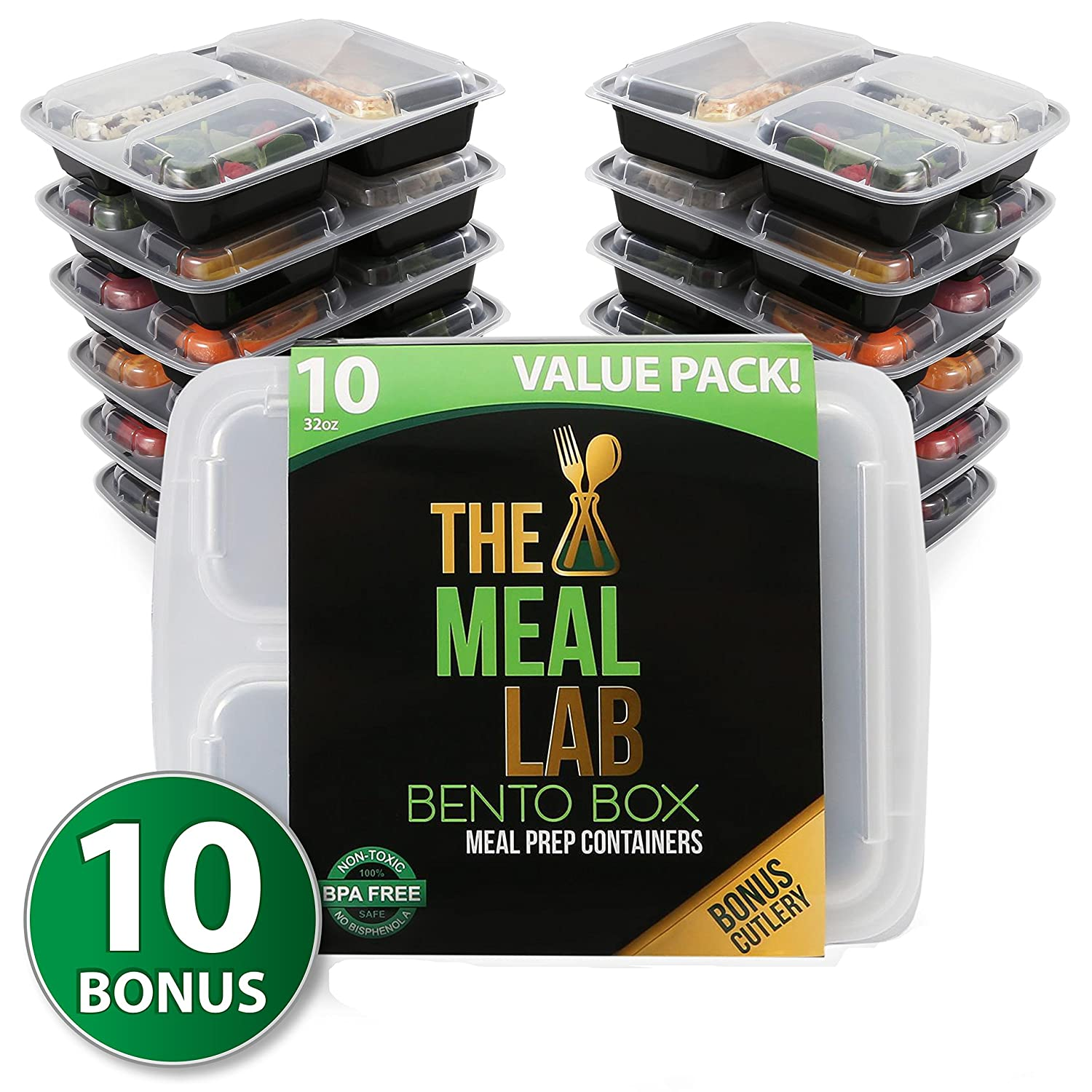 [BONUS-PACK] Long Lasting 3-Compartment BPA FREE Stackable Meal Prep Food Storage Containers with Lids | Microwave & Dishwasher Safe Bento Lunch Box | Portion Control Plates + FREE Weight Loss Book