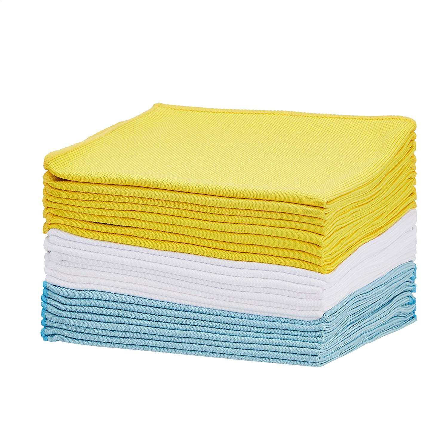 AmazonBasics Blue, Yellow and White Microfiber Glass Fabric Cleaning Cloth, 24-Pack