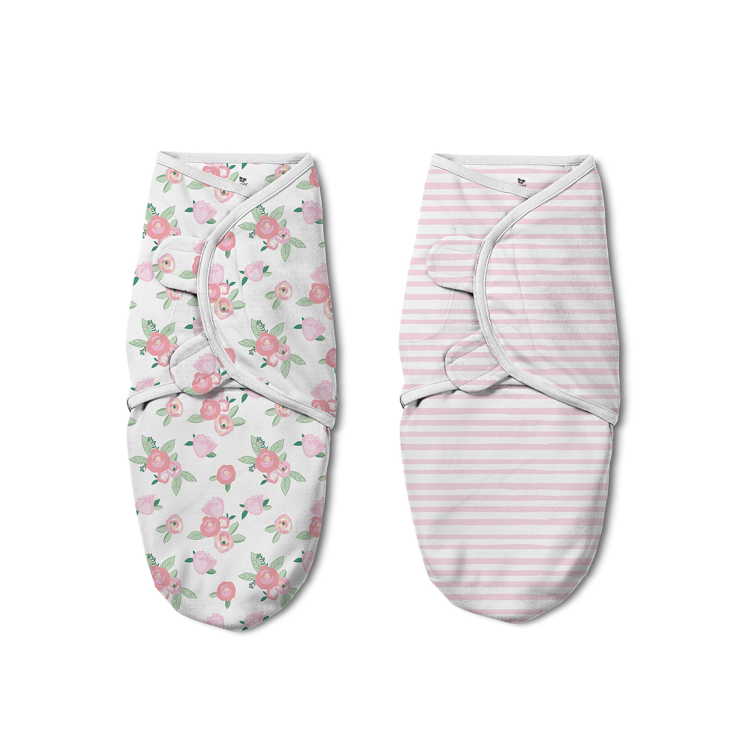 SwaddleMe Original Swaddle Luxe Edition with Easy Change Zipper 2-PK - Watercolor Floral (SM)