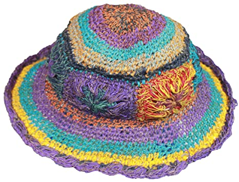 9007a3db12a6b4 Amazon.com: a2zgift4u Hobo Hippie Hemp Cotton Summer Wide Brim Sun Bucket  Hat Handmade Nepal: Arts, Crafts & Sewing